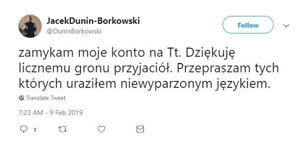 Twitt ks. Jacka Dunina-Borkowskiego
