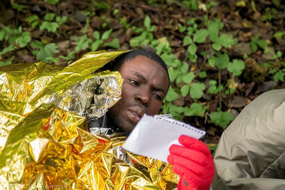 Grupa 11 uchodźców ze Sri Lanki, Gwinei, Nigerii, Iraku i Kamerunu, odnalezionych przez aktywistów w lesie pod Kuźnicą