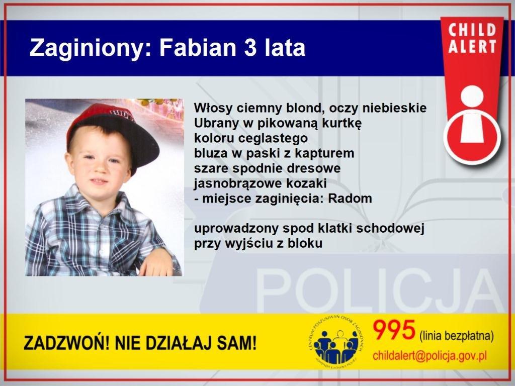Zaginiony 3-letni Fabian