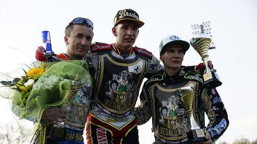 Najlepsi w I Memoriale Rycerzy Speedwaya, od lewej: Grzegorz Walasek, Piotr Pawlicki, Patryk Dudek