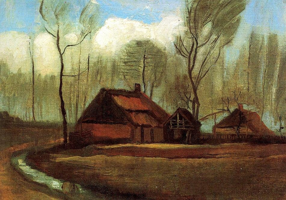 Vincent van Gogh, Wiejskie chaty pośród drzew, wrzesień 1883 / Domena publiczna / Muzeum Kolekcji Jana Pawła II w Warszawie