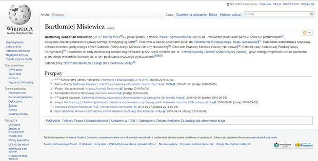 Hasło z Wikipedii: Bartłomiej Misiewicz
