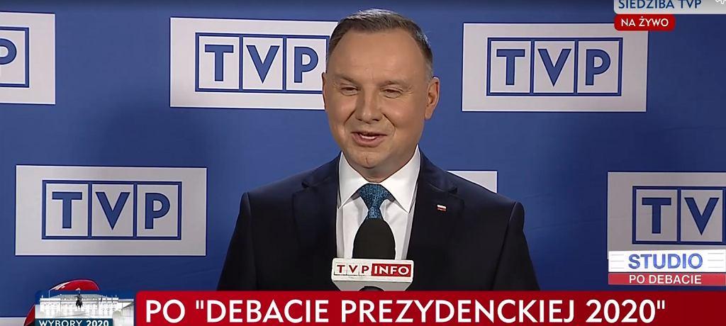 Prezydent Andrzej Duda po debacie w TVP - transmisja bez udziału mediów.