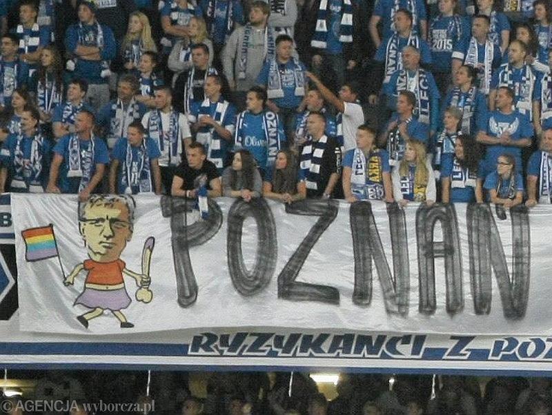 Transparent kibiców Lecha Poznań podczas meczu z Arką Gdynia