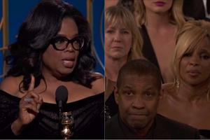 Oprah Winfrey podczas 75. gali rozdania Złotych Globów uhonorowana została nagrodą Cecila B. De Mille'a