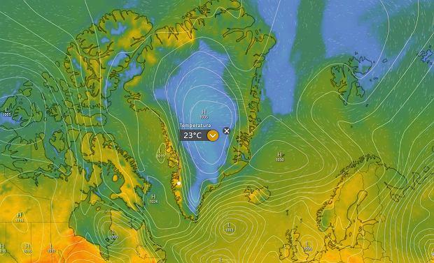 Grenlandia. Temperatura z 31 lipca 2019, godz. 16:30