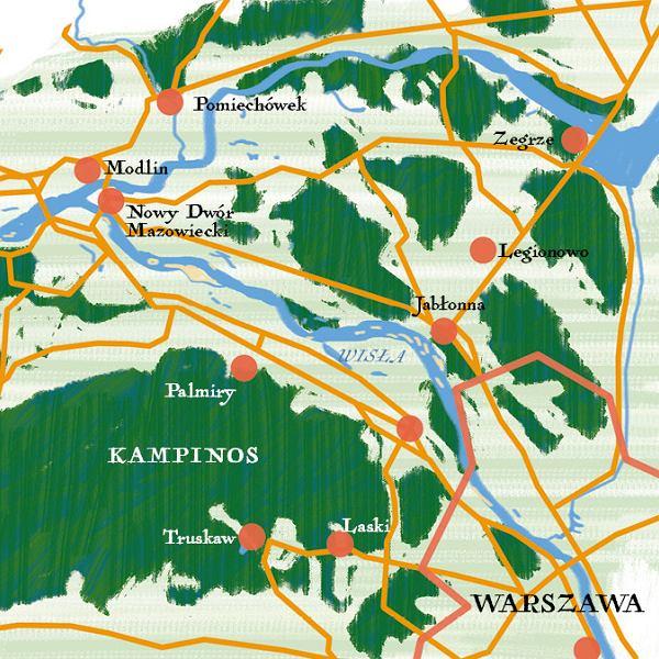 Mapa okolic Warszawy