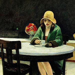 'Automat', rok 1927,  fragment jednego z najsłynniejszych  obrazów Hoppera,  zaprezentowany pierwszy raz w Walentynki