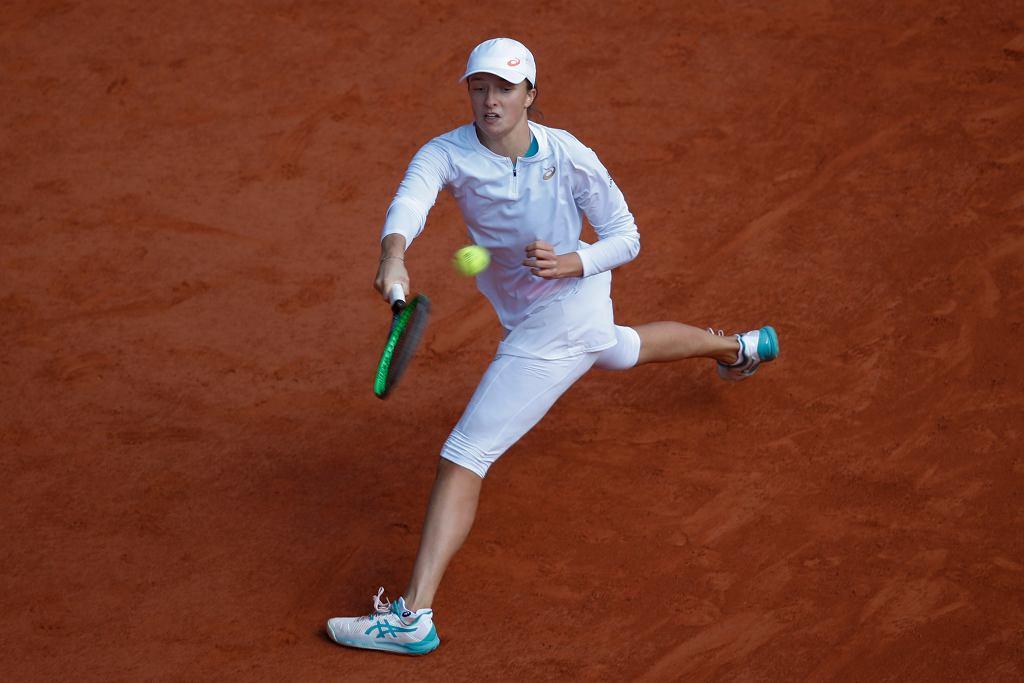 10.10.2020, Paryż, Iga Świątek w zwycięskim finale turnieju Rolanda Garrosa