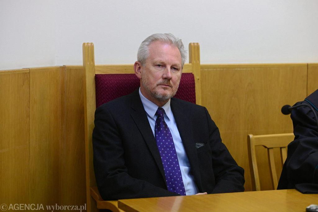 Były wiceszef KNF Wojciech Kwaśniak jako pokrzywdzony podczas rozprawy w sprawie jego pobicia, 9 stycznia 2019.