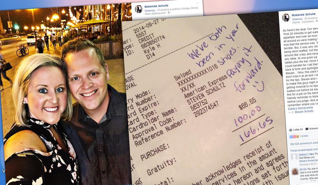 Małżeństwo napisało wiadomość do kelnera na rachunku.