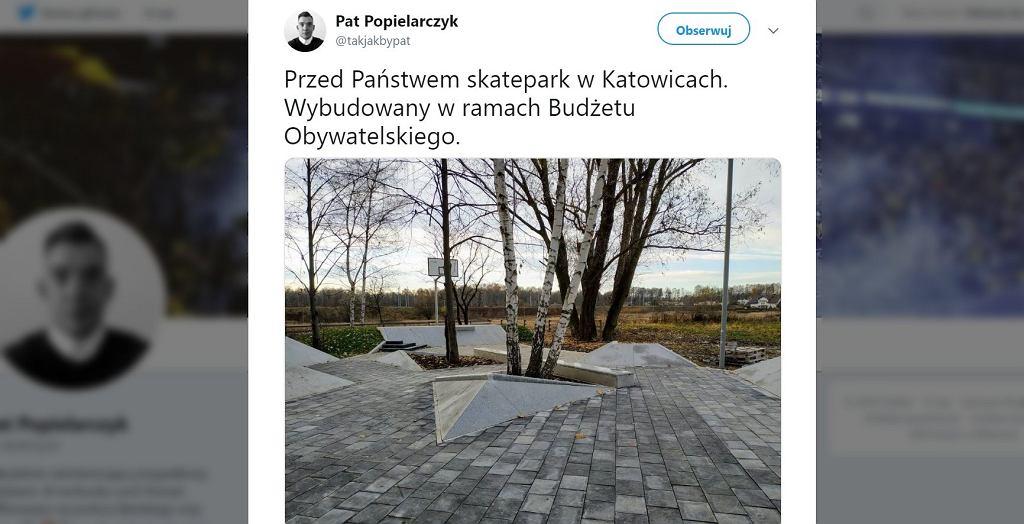 Skatepark z kostki brukowej w Katowicach.