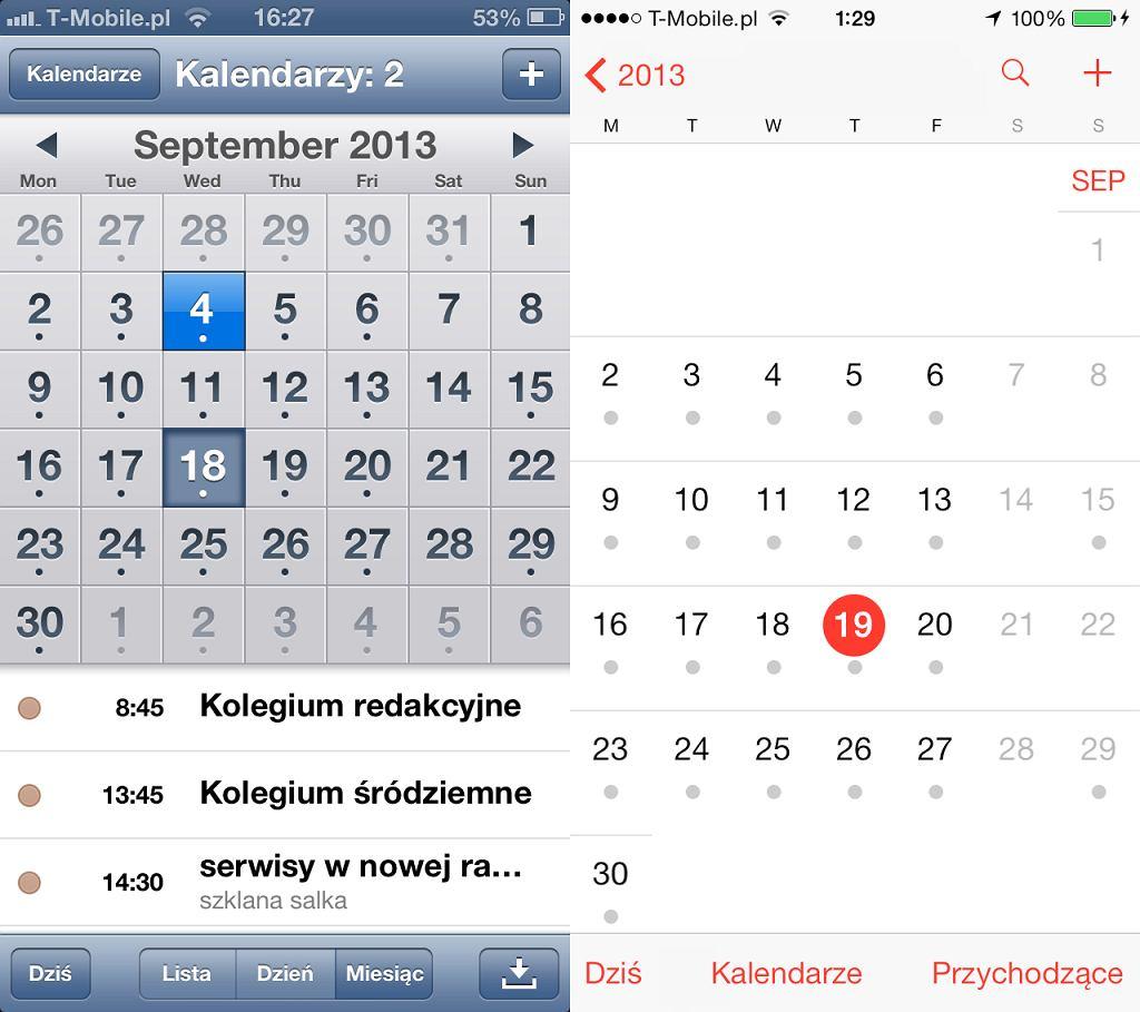 Kalendarz w starym i nowym iOS