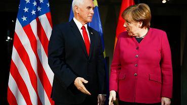Konferencja Bezpieczeństwa w Monachium. Wiceprezydent USA Mike Pence i Kanclerz Niemiec Angela Merkel.