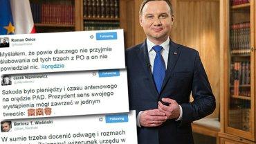 Andrzej Duda i komentarze na temat orędzia