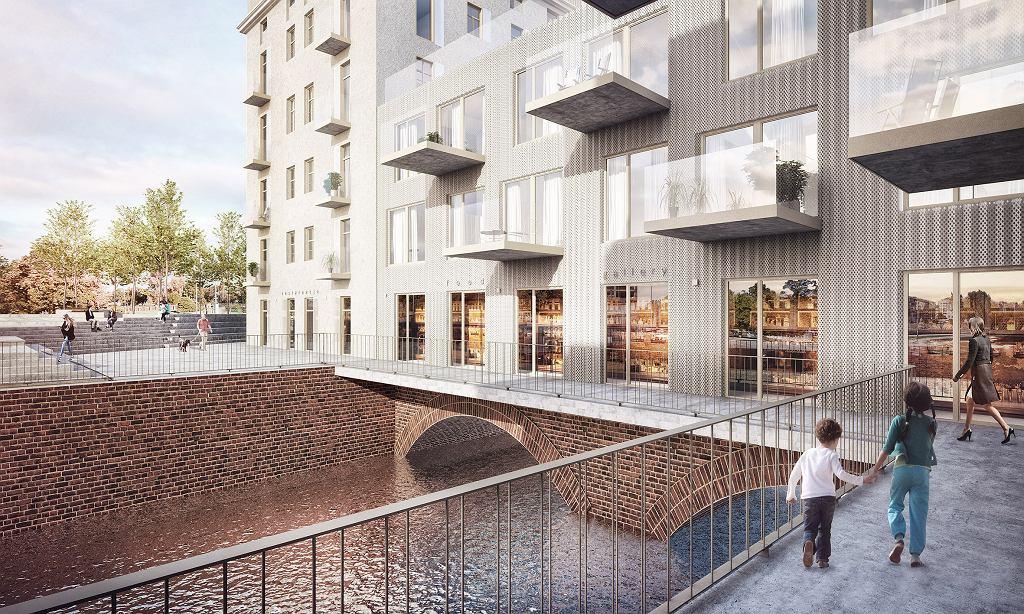 Inwestycja Młyn Maria we Wrocławiu firmy RealCo Property Investment and Development. Nowa część, która zostanie nadwieszona nad wodą