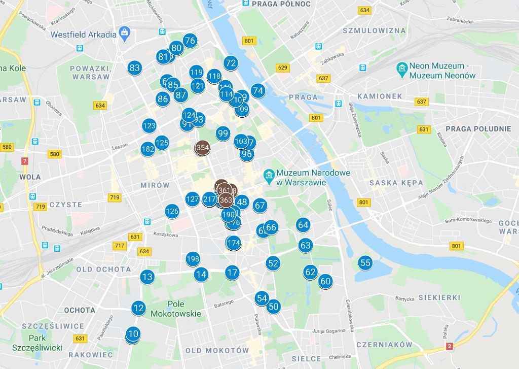 Aktywność telefonu zamachowca w Warszawie