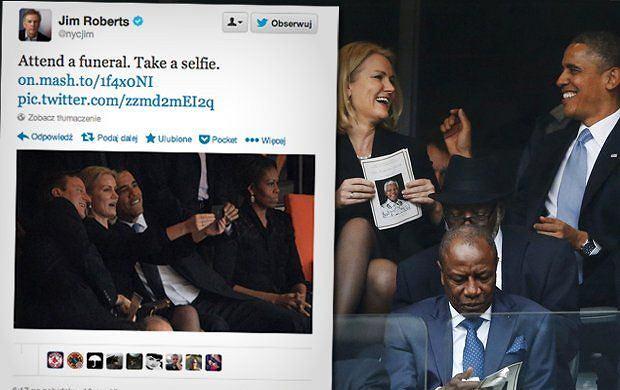 Obama, Thorning-Schmidt i Cameron robią sobie zdjęcie na uroczystościach żałobnych ku czci Nelsona Mandeli.