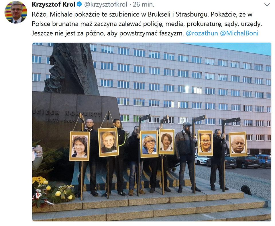 Wpis Krzysztofa Króla na Twitterze - Katowice: narodowcy z szubienicami dla posłów PO