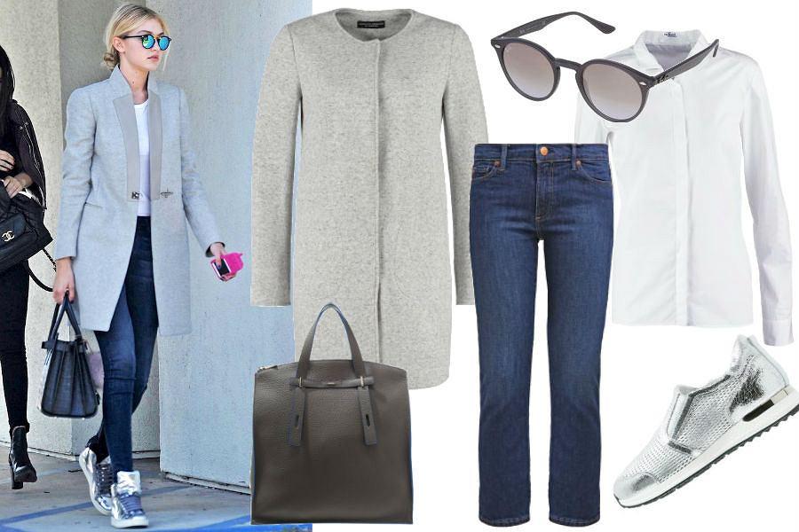 lefashion.com, Gigi Hadid, jeansy, biała koszula, okulary przeciwsłoneczne