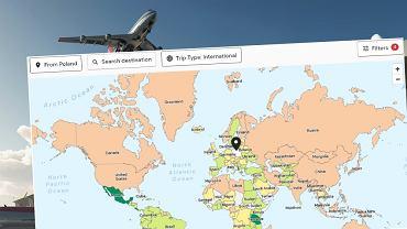 Mapa, która pokazuje aktualne obostrzenia w podróżowaniu