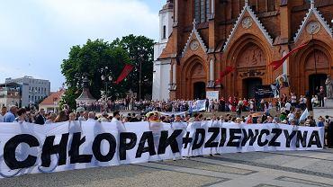 Białystok, Marsz Równości. Blokada przy placu Jana Pawła II pod katedrą