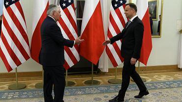 Spotkanie sekretarza stanu USA Rexa Tillersona z prezydentem Andrzejem Dudą.
