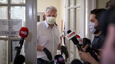 Dominik Kolorz - szef Solidarności na Śląsku podczas spotkania między rządem a związkami zawodowymi dot. programu naprawczego dla Polskiej Grupy Górniczej .