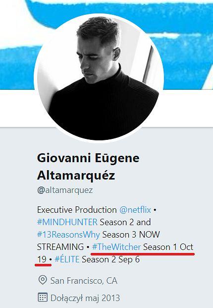screenshot z Twittera producenta 'Wiedźmina'