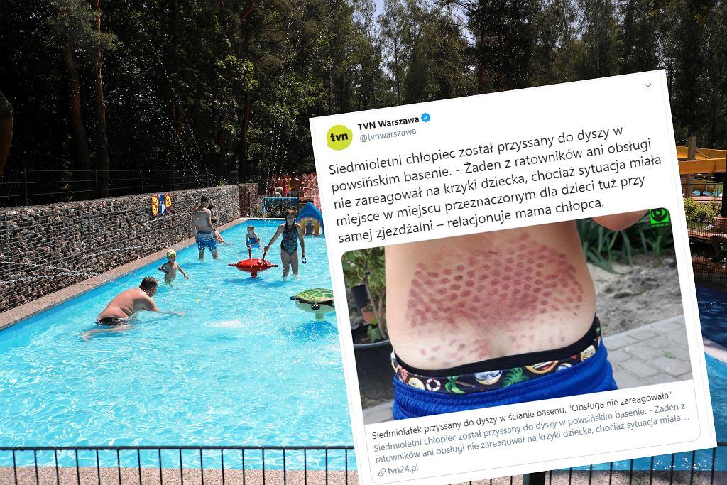 Incydent na basenie w Powsinie - chłopiec został przyssany do ściany