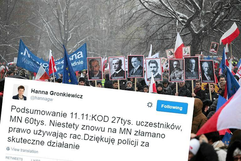 Marsz KOD w dniu 11 listopada