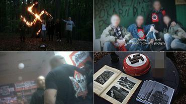 Kadry z nagrodzonego reportażu 'Polscy Neonaziści' autorstwa Bertolda Kittela, Anny Sobolewskiej i Piotra Wacowskiego, wyemitowanego w programie 'Superwizjer TVN' w stacji TVN24