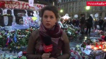 Korespondentka Polskiego Radia Magdalena Skajewska w czasie relacji po zamachach w Paryżu