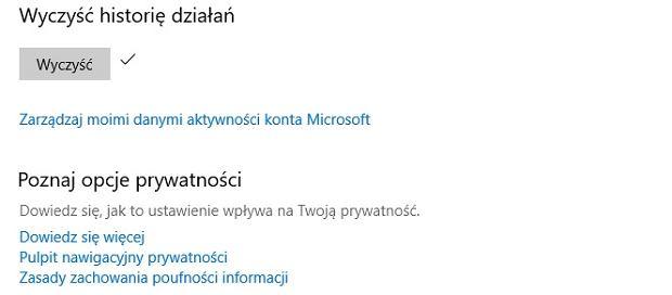 Czyszczenie historii aktywności w Windows 10