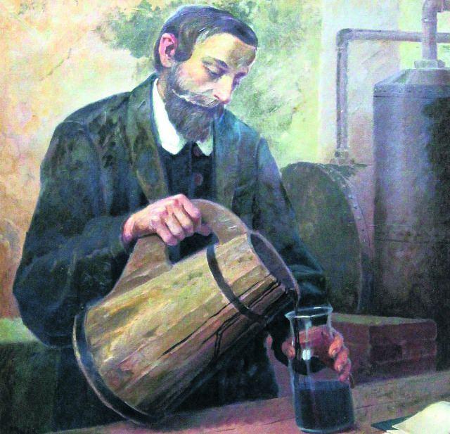 Obraz przedstawiający Łukasiewicza podczas pracy. Znajduje się w Muzeum Przemysłu Naftowego i Gazownictwa założonym w pierwszej kopalni ropy wybudowanej przez Łukasiewicza i Tytusa Trzecielskiego w Bóbrce koło Krosna