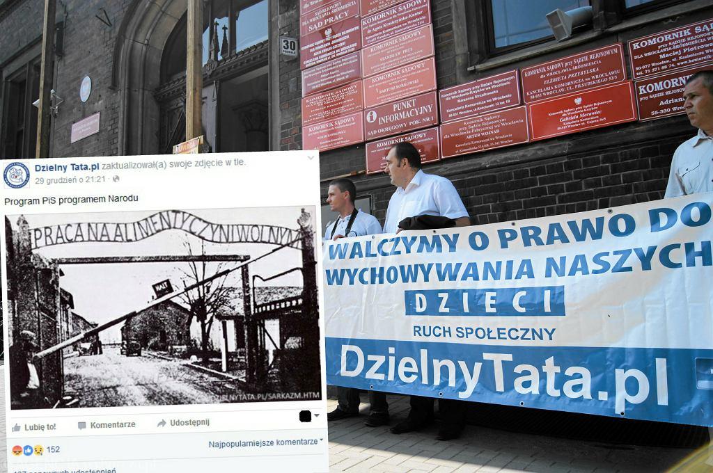 Protest stowarzyszenia 'Dzielny Tata' i ich fotomontaż