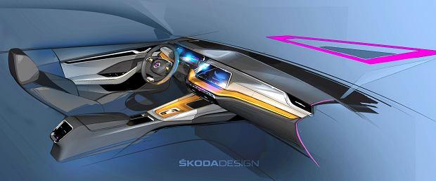Skoda Octavia czwartej generacji - szkic wnętrza