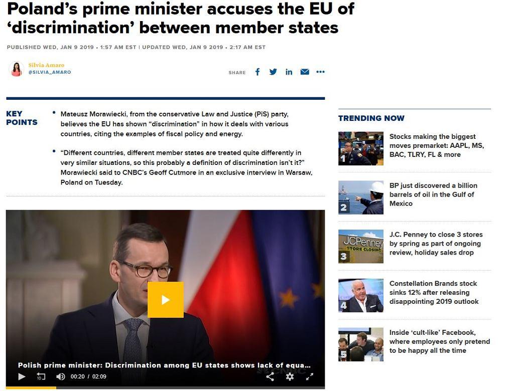 Mateusz Morawiecki w rozmowie z CNBC