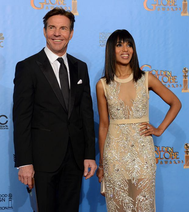 Presenters Dennis Quaid, left, and Kerry Washington pose backstage at the 70th Annual Golden Globe Awards at the Beverly Hilton Hotel on Sunday Jan. 13, 2013, in Beverly Hills, Calif. (Photo by Jordan Strauss/Invision/AP)