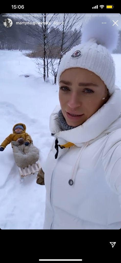 Martyna Gliwińska zabrała Kazika na sanki