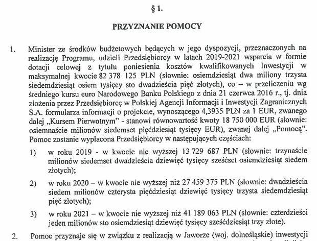 Fragmentu umowy ws. dotacji