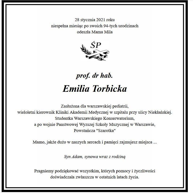 Nie żyje Emilia Torbicka