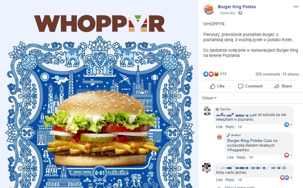 Burger King stworzył burgera dla poznaniaków. Nie sposób domyślić się, co włożyli do Whoppyra