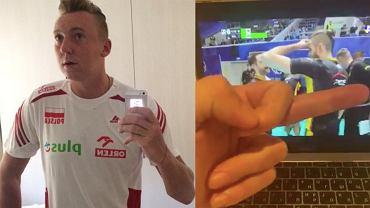 Aleksiej Spiridonow pokazujący środkowy palec w stronę siatkarzy PGE Skra Bełchatów. Źródło: Twitter