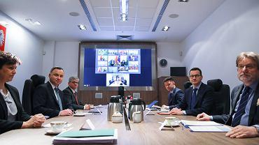 Posiedzenie Rady Bezpieczeństwa Narodowego nt. rozwiązań, jakie ma zawierać tarcza antykryzysowa, 23 marca 2020.