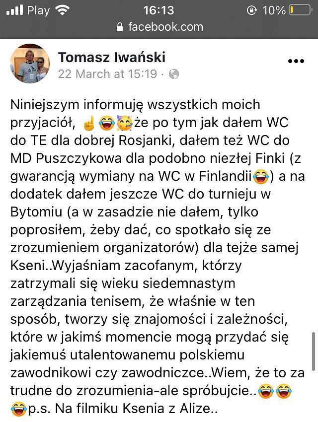 Wpis z Facebooka Tomasza Iwańskiego