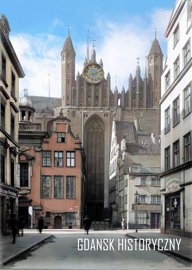 Zdjęcie numer 11 w galerii - Zdjęcia przedwojennego i powojennego Gdańska w kolorze. Zieleń drzew i czerwone cegły Bazyliki Mariackiej