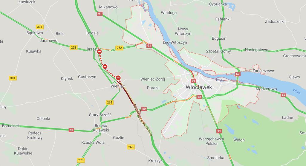 Utrudnienia na autostradzie A1 w okolicach Włocławka.
