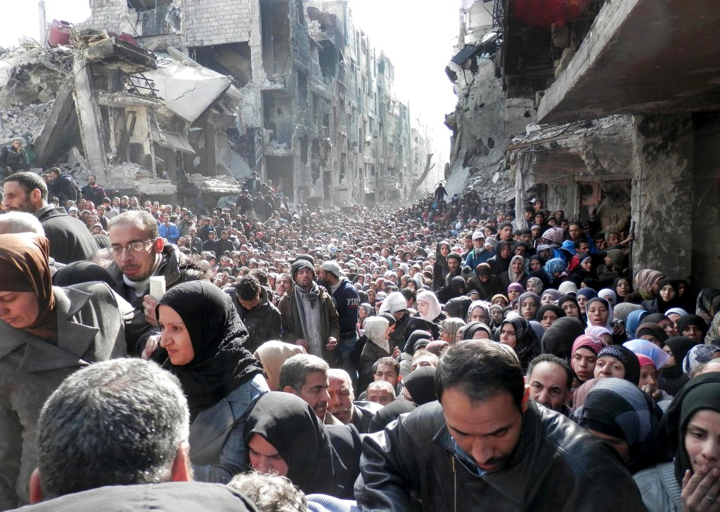 Obóz dla uchodźców w Yarmouk pod koniec stycznia 2014 roku