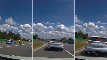 Niebezpieczna kontrola prędkości na autostradzie